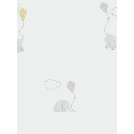 Papier peint Eléphants bleu - MY LITTLE WORLD - Casadeco - MLW29736317