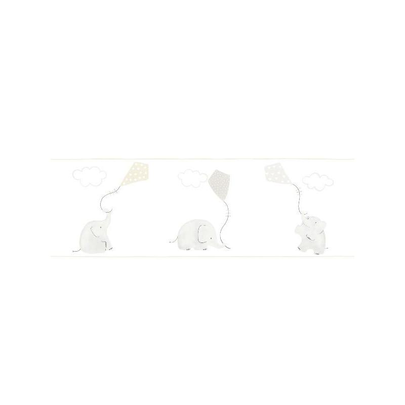 Frise duplex enfant à motif Elephants beige - MY LITTLE WORLD Caselio