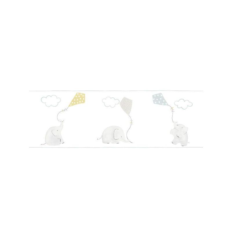 Frise duplex enfant à motif Elephants bleu et jaune - MY LITTLE WORLD Caselio