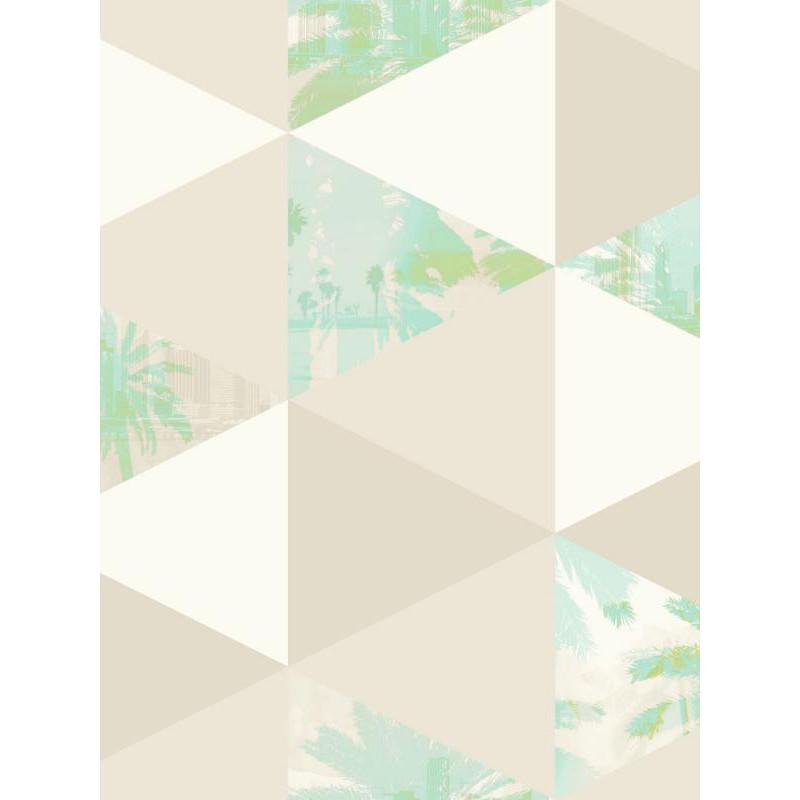 Papier peint intissé Palmiers à motif triangle vert/gris - TONIC Caselio