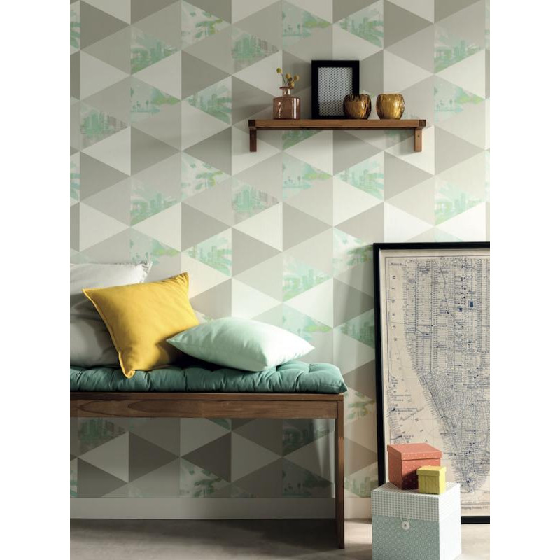 papier peint intiss palmiers motif triangle vert gris tonic caselio. Black Bedroom Furniture Sets. Home Design Ideas