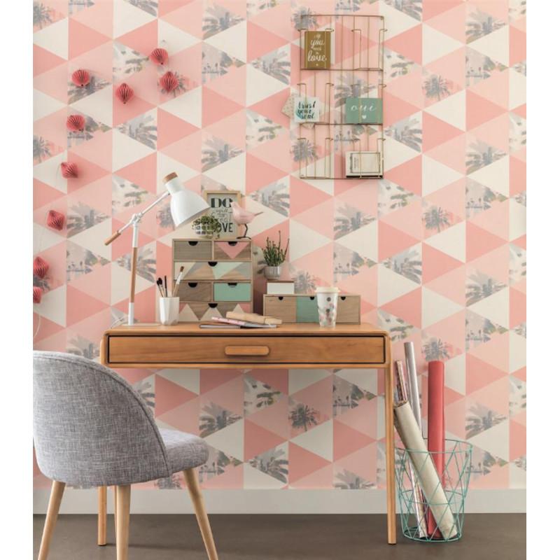 papier peint intiss palmiers motif triangle rose corail. Black Bedroom Furniture Sets. Home Design Ideas
