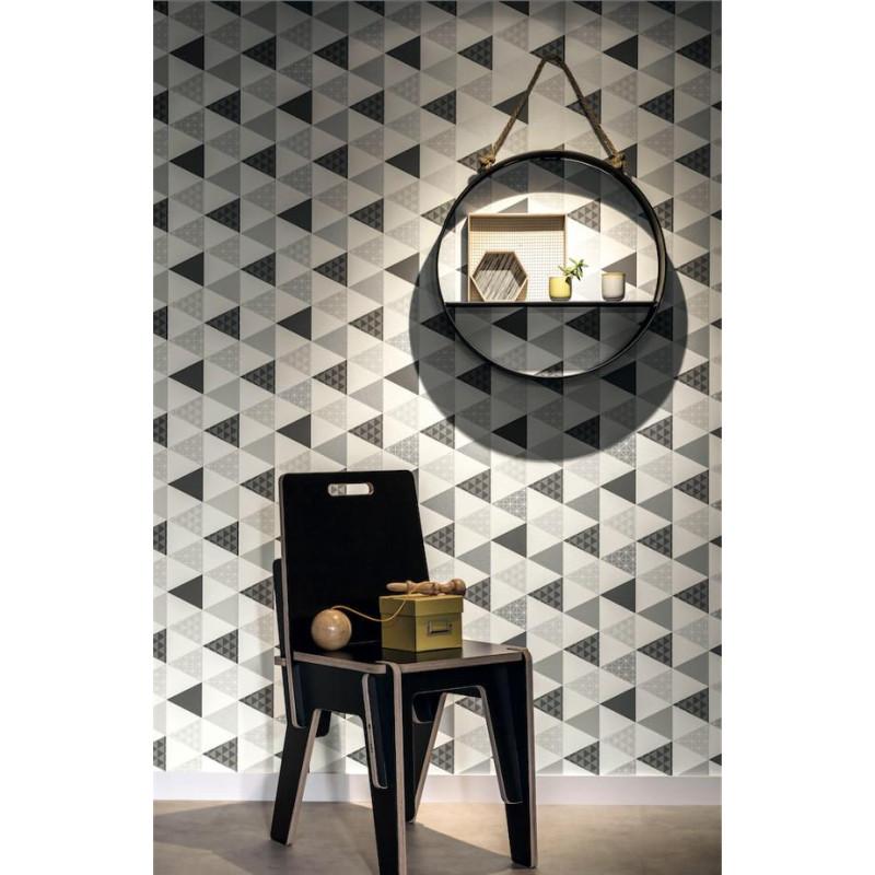 Papier peint Triangle noir et argent - TONIC - Caselio - TONI69449412