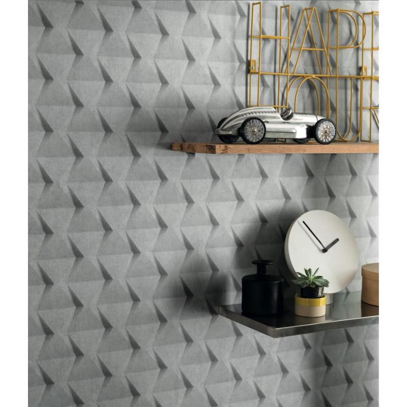 Papier peint intissé Relief béton gris   TONIC Caselio