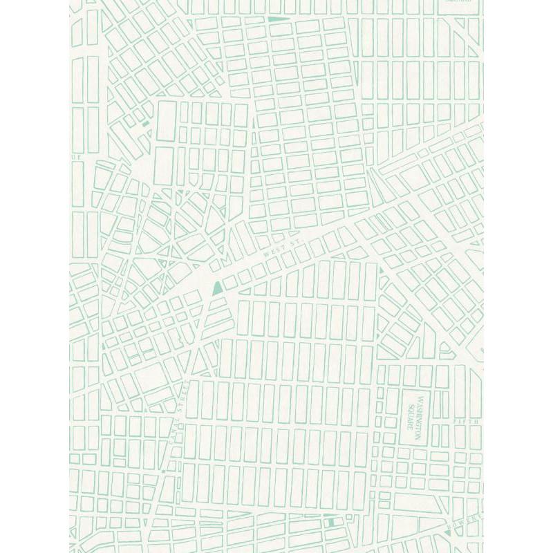 Papier peint intissé Plan New-York vert - TONIC Caselio