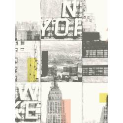 Papier peint New York Carré turquoise et gris - TONIC - Caselio - TONI69486505
