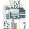 Papier peint intissé Patchwork New-York bleu,cuivre - TONIC Caselio
