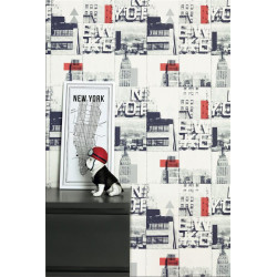 Papier peint New York Carré bleu et rouge - TONIC - Caselio - TONI69483918