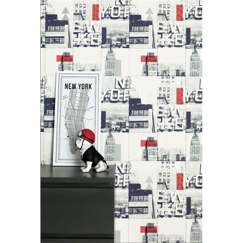 Papier peint intissé Patchwork New-York rouge,argent - TONIC Caselio