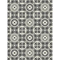 Tapis vinyle PVC - Lagos noir et blanc - 66x100cm