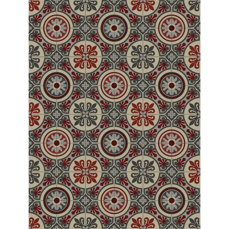 Tapis vinyle PVC - Lagos rouge et gris - 66x100cm