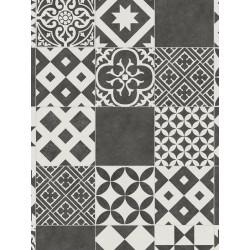 Tapis vinyle PVC - Amadora gris anthracite et blanc