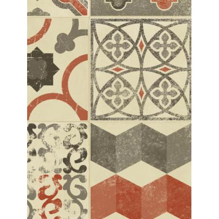 Tapis vinyle PVC - Almeria carreaux de ciment rouge