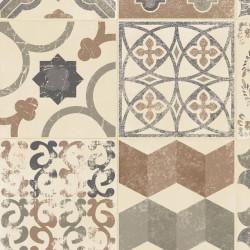 Tapis vinyle PVC - Almeria carreaux de ciment beige et gris