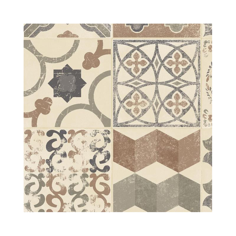 Tapis vinyle pvc almeria carreaux de ciment beige et gris for Tapis pvc carreaux de ciment