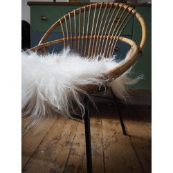 Galette de chaise Peau de mouton Island à poils longs blanc - Tergus