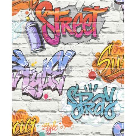 Papier peint vinyle City à motifs Graffiti - Free Style - UGEPA