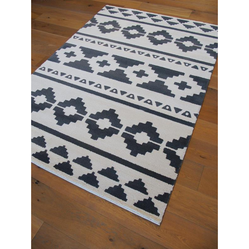 tapis motif ethnique gris et blanc 160x230cm alaska balta. Black Bedroom Furniture Sets. Home Design Ideas