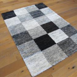 Tapis shaggy motif carrés gris et blanc - 160x230cm - Sherpa
