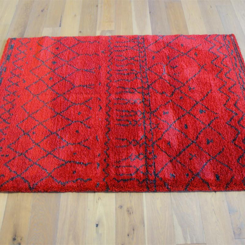 tapis shaggy ethnique rouge motifs 160x230cm sherpa. Black Bedroom Furniture Sets. Home Design Ideas