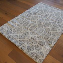 Tapis shaggy ethnique beige et gris à motifs - 160x230cm - SHERPA