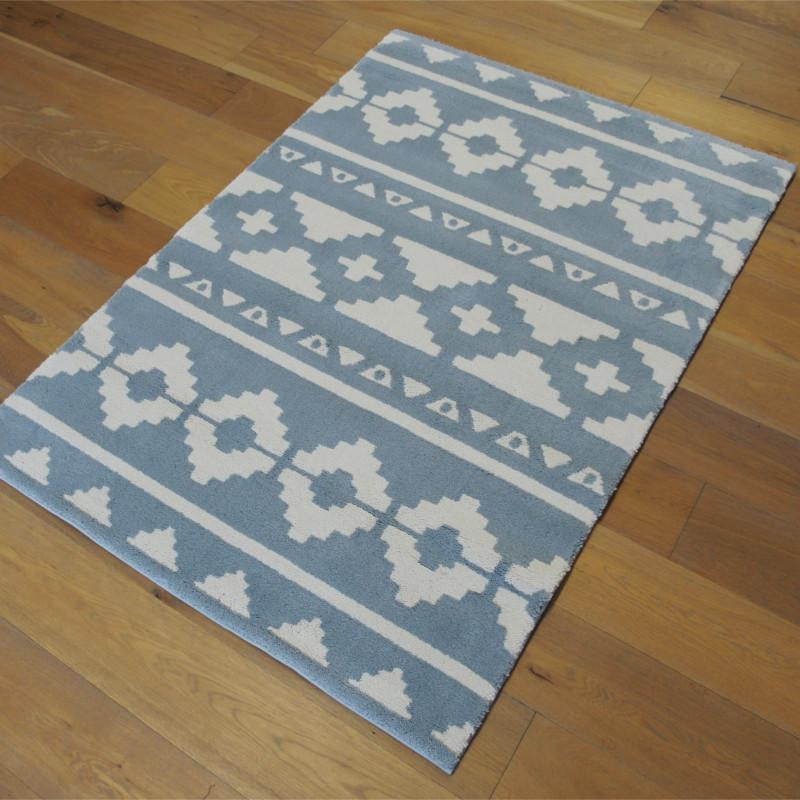 tapis motif ethnique gris bleut et beige 120x170cm alaska. Black Bedroom Furniture Sets. Home Design Ideas