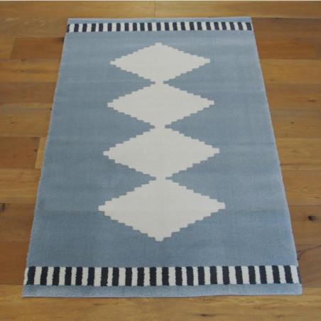 Tapis motif ethnique gris bleuté et beige - 120x170cm - ALASKA