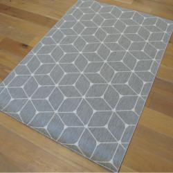 Tapis Cubes tissé à plat gris clair / Blanc cassé - 140x200cm - ESSENZA
