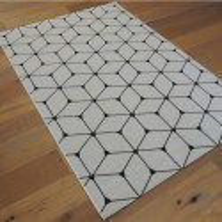 Tapis Cubes tissé à plat blanc et noir- 140x200cm - ESSENZA