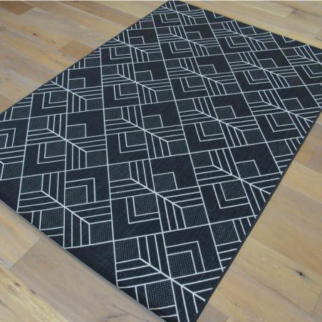 Tapis géométrique tissé à plat noir et blanc - 160x230cm - ESSENZA