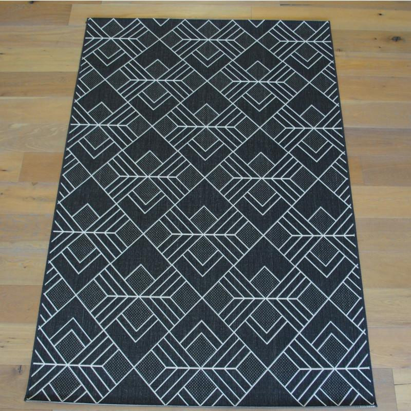 tapis g om trique tiss plat noir et blanc 160x230cm. Black Bedroom Furniture Sets. Home Design Ideas