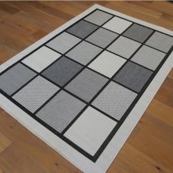 Tapis en cordes motif Carrés noir et blanc ivoire - 160x230cm - FENIX