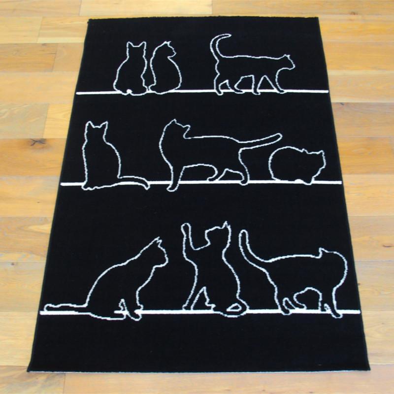 Tapis Chats noir et blanc - 120x170cm - FLASH