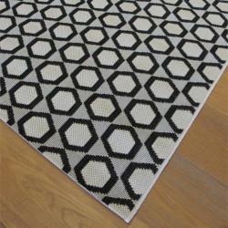 Tapis Hexagones ivoire et noir - 120x170cm - ESSENZA