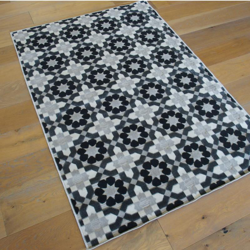 tapis retro motifs carreaux de ciment gris 120x170cm flow. Black Bedroom Furniture Sets. Home Design Ideas
