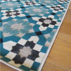 Tapis corde et poil ras Retro à motifs carreaux de ciment bleu - 120x170cm - FLOW