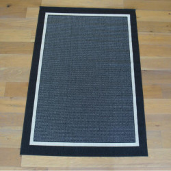 Tapis noir en cordes Encadrement noir, ligne blanche - FENIX