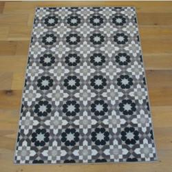 Tapis corde et poil ras Retro à motifs carreaux de ciment beige taupe - 120x170cm - FLOW