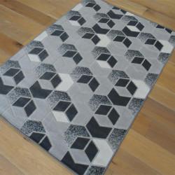 Tapis corde et poil ras Cubes gris foncé - Grandes Tailles - FLOW