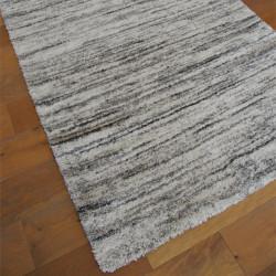 Tapis shaggy Lignes beige et gris - Grandes Tailles - SHERPA