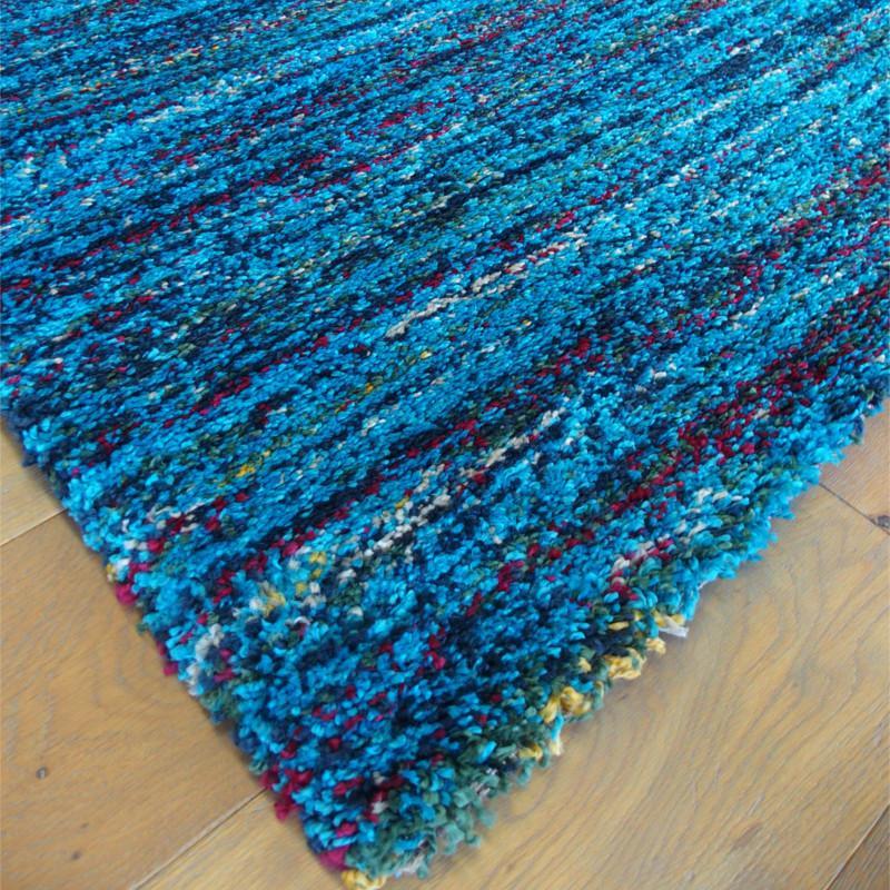 Tapis shaggy Lignes turquoise moucheté - 140x200cm - SHERPA