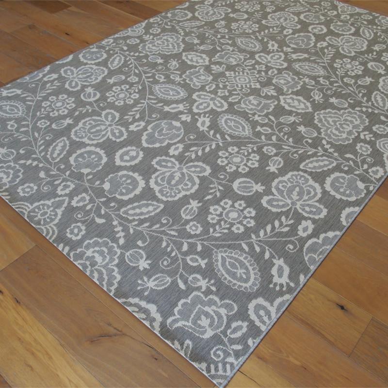 tapis en corde fleurs gris clair 200x290cm essenza. Black Bedroom Furniture Sets. Home Design Ideas