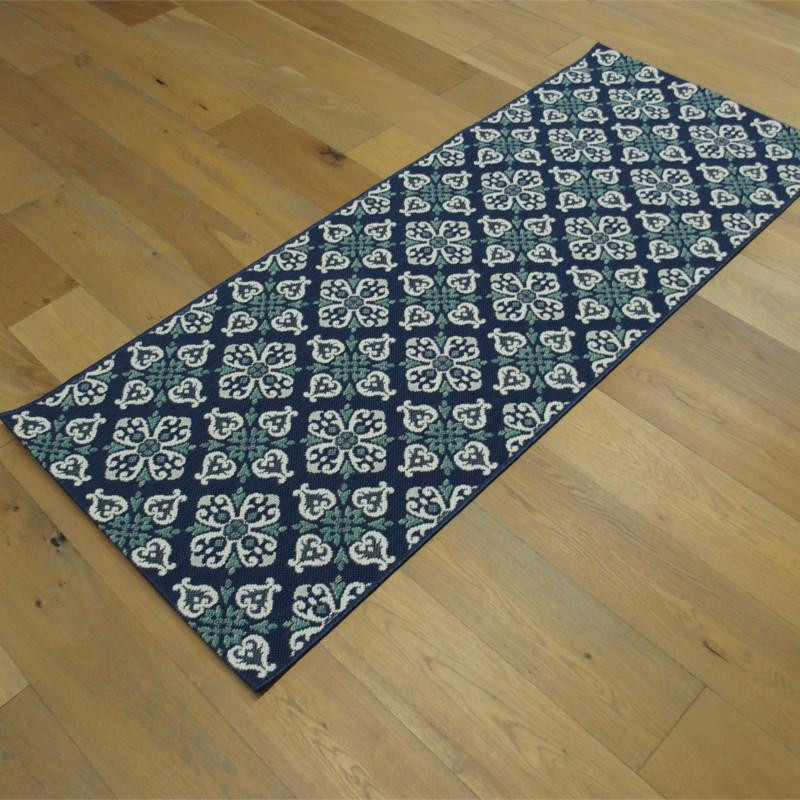 tapis de cuisine en corde carreaux de ciment bleu 80x200cm star. Black Bedroom Furniture Sets. Home Design Ideas