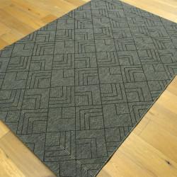 Tapis géométrique tissé à plat gris foncé - 160x230cm - ESSENZA