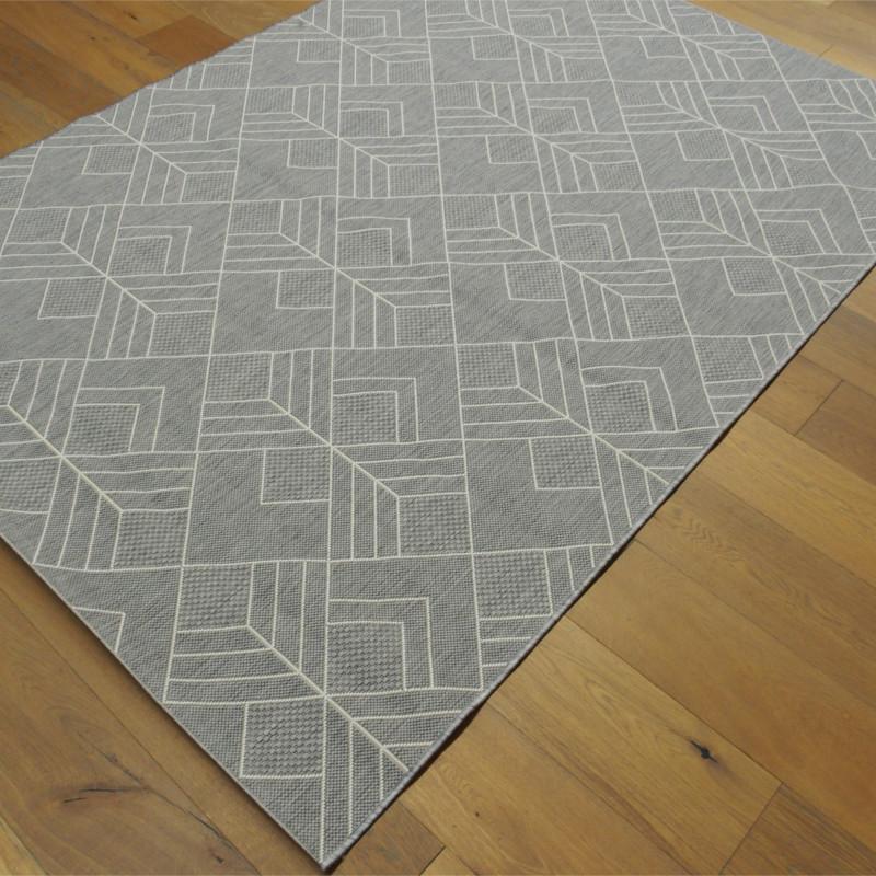 Tapis géométrique tissé à plat gris clair - 200x290cm - ESSENZA