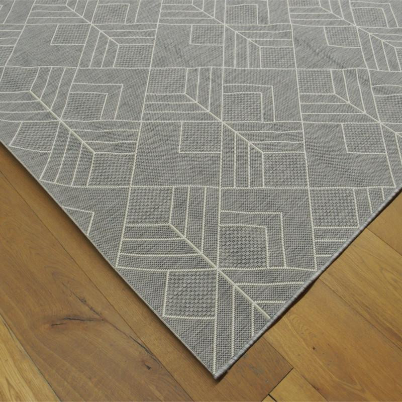 tapis g om trique tiss plat gris clair 200x290cm. Black Bedroom Furniture Sets. Home Design Ideas