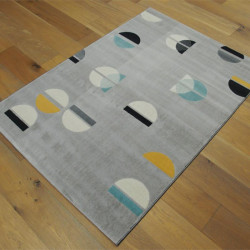 Tapis motif Demi-cercles fond gris clair - 120x170cm - Canvas