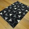 Tapis noir motif Hexagones et Triangles gris et écru - 120x170cm - Canvas