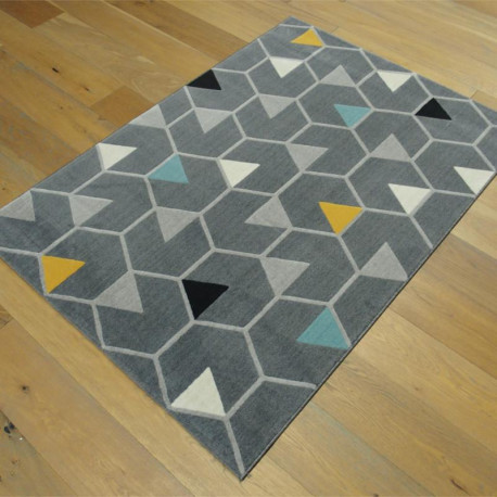 tapis gris fonc motif hexagones et triangles colors 120x170cm canvas - Tapis Gris