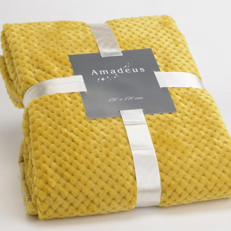 plaid relief damier uni jaune moutarde 130x170cm amadeus. Black Bedroom Furniture Sets. Home Design Ideas